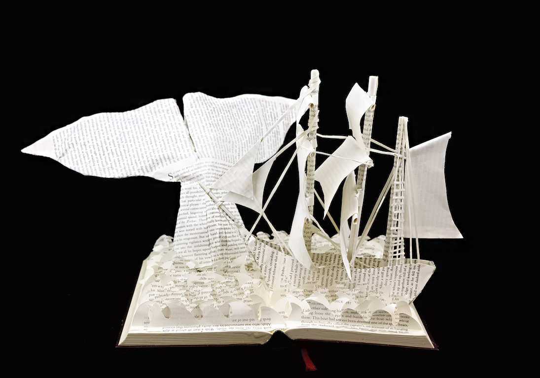 Moby Dick Custom Book Sculpture by Jamie B. Hannigan. Featuring a whale tail and The Pequod.