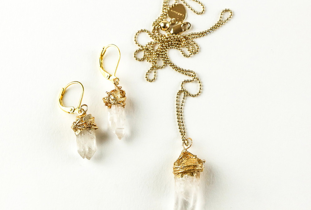 DIY Gold-Dipped Crystal Earrings & Pendant