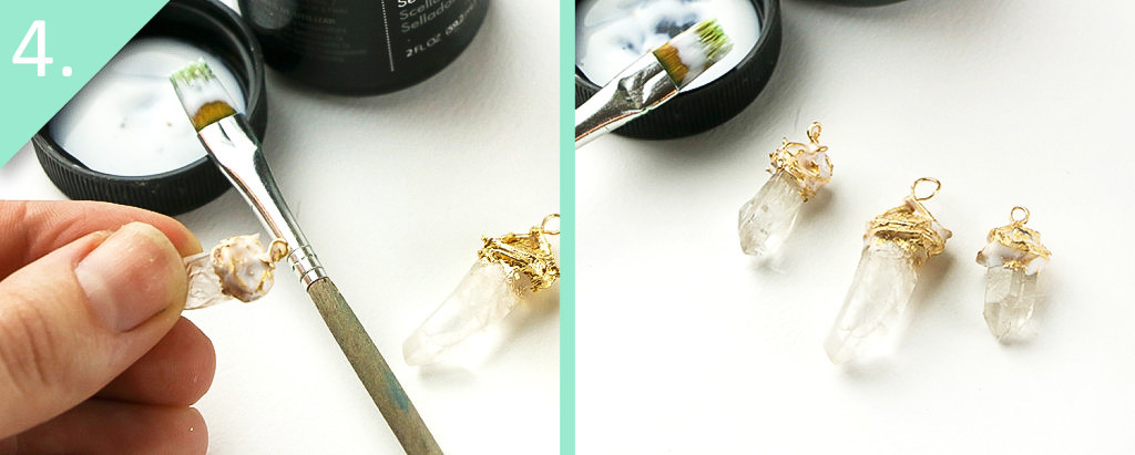 DIY Gold-Dipped Crystal Earrings & Pendant Tutorial - Step 4 - Jamie B Hannigan