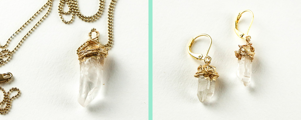 DIY Gold-Dipped Crystal Earrings & Pendant Tutorial - Finished Pendant and Earrings - Jamie B Hannigan