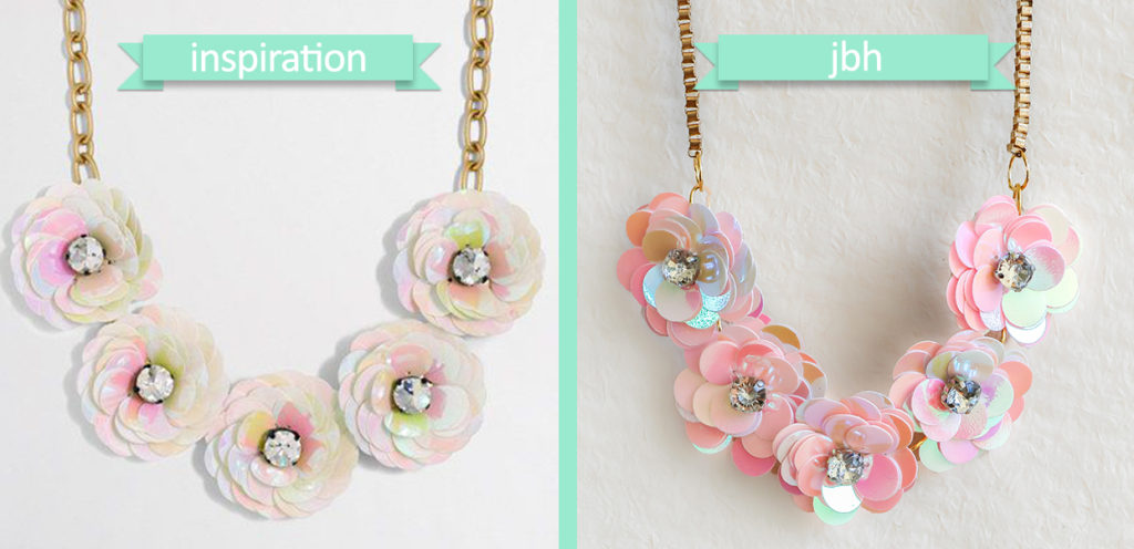 DIY J.Crew-Inspired Sequin Flower Necklace - Comparison - jamiebhannigan.com