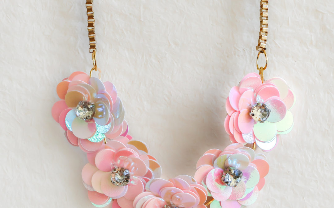 DIY J.Crew-Inspired Sequin Flower Necklace