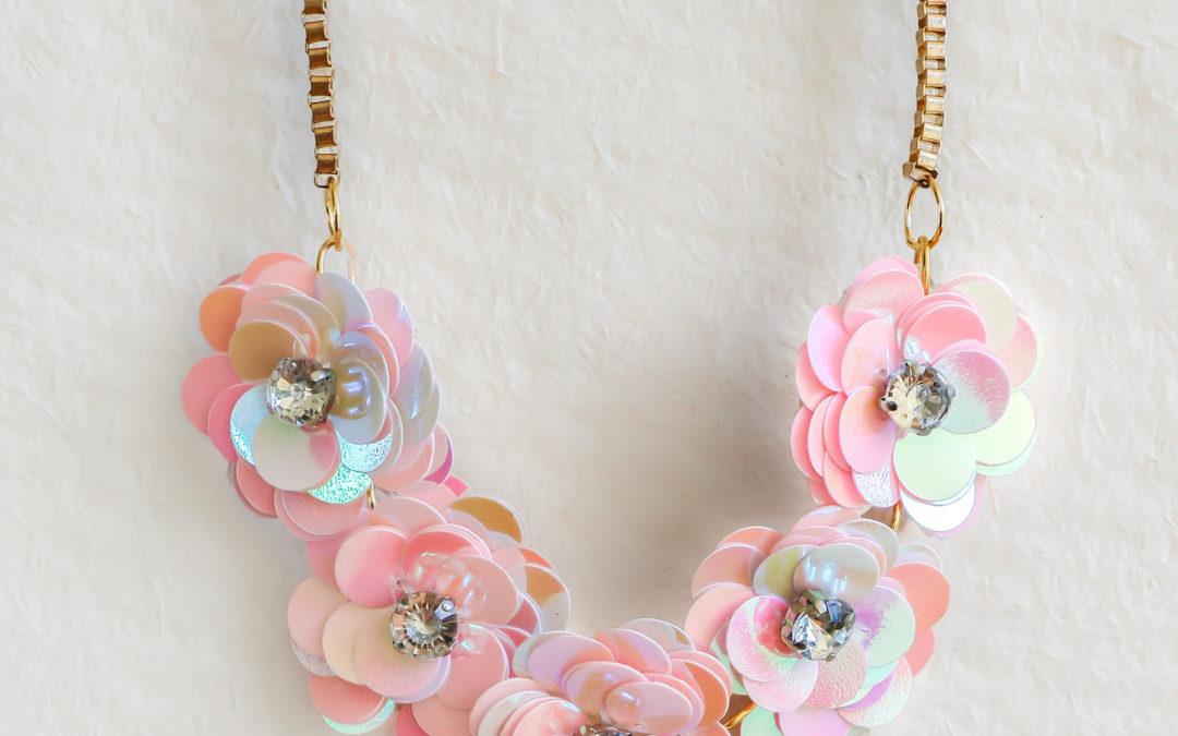 DIY J.Crew-Inspired Sequin Flower Necklace