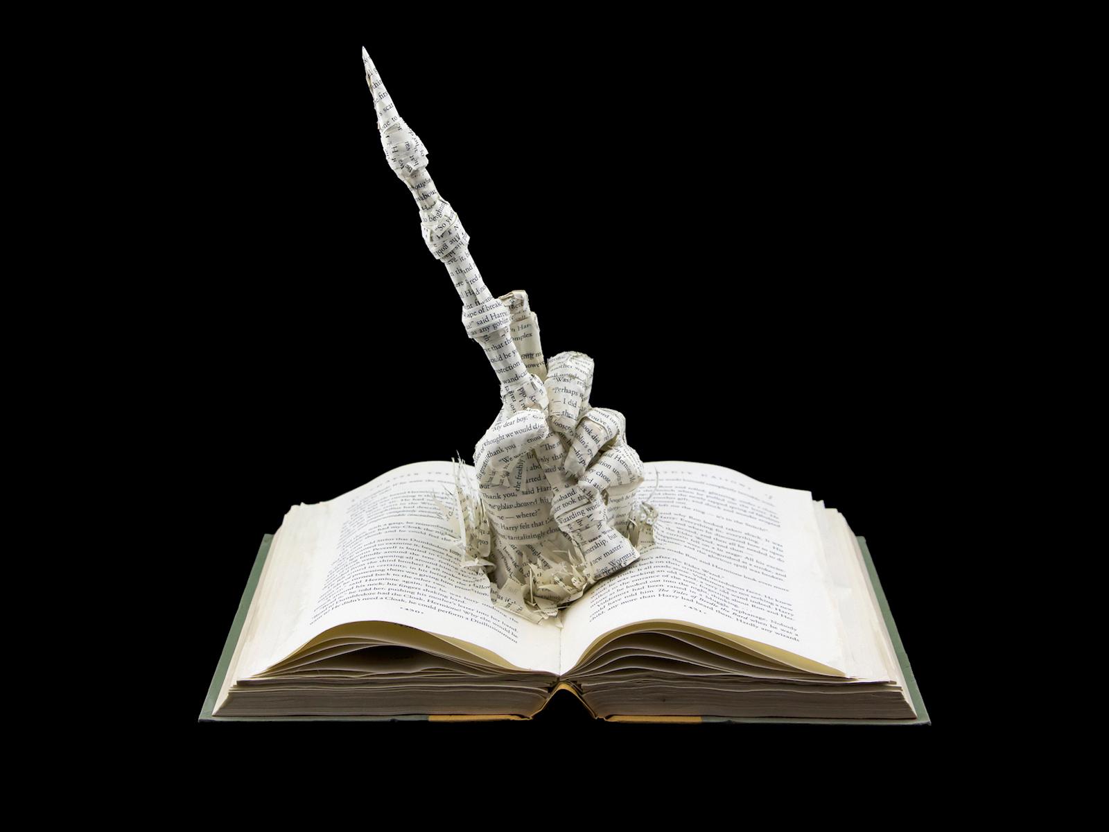 Harry Potter Elder Wand Book Sculpture
