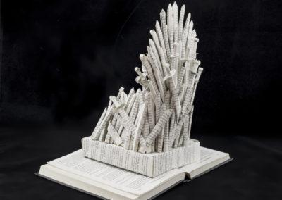 GoT Iron Throne Book Sculpture by Jamie B Hannigan - Back Left View