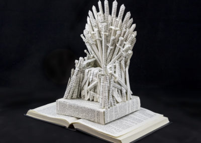 GoT Iron Throne Book Sculpture by Jamie B Hannigan - Front Left