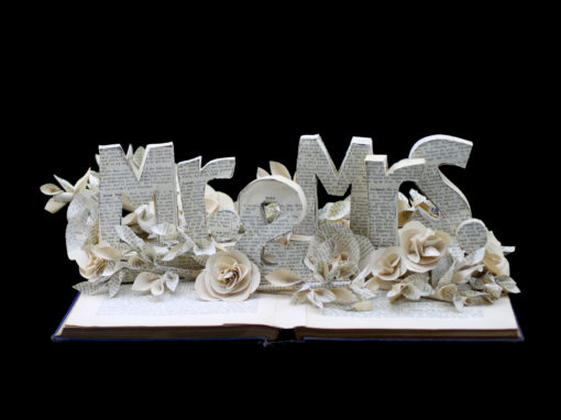 Book Sculpture: Mr. & Mrs. (Custom Request for Wedding)
