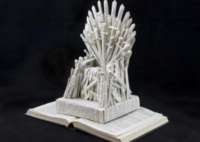 GoT Iron Throne Book Sculpture by Jamie B Hannigan - Front Left