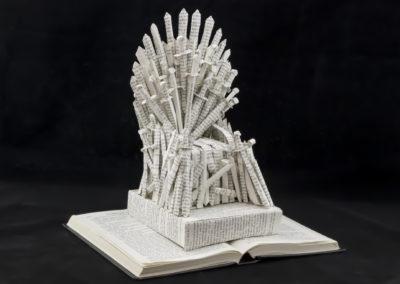 GoT Iron Throne Book Sculpture by Jamie B Hannigan - Front Right