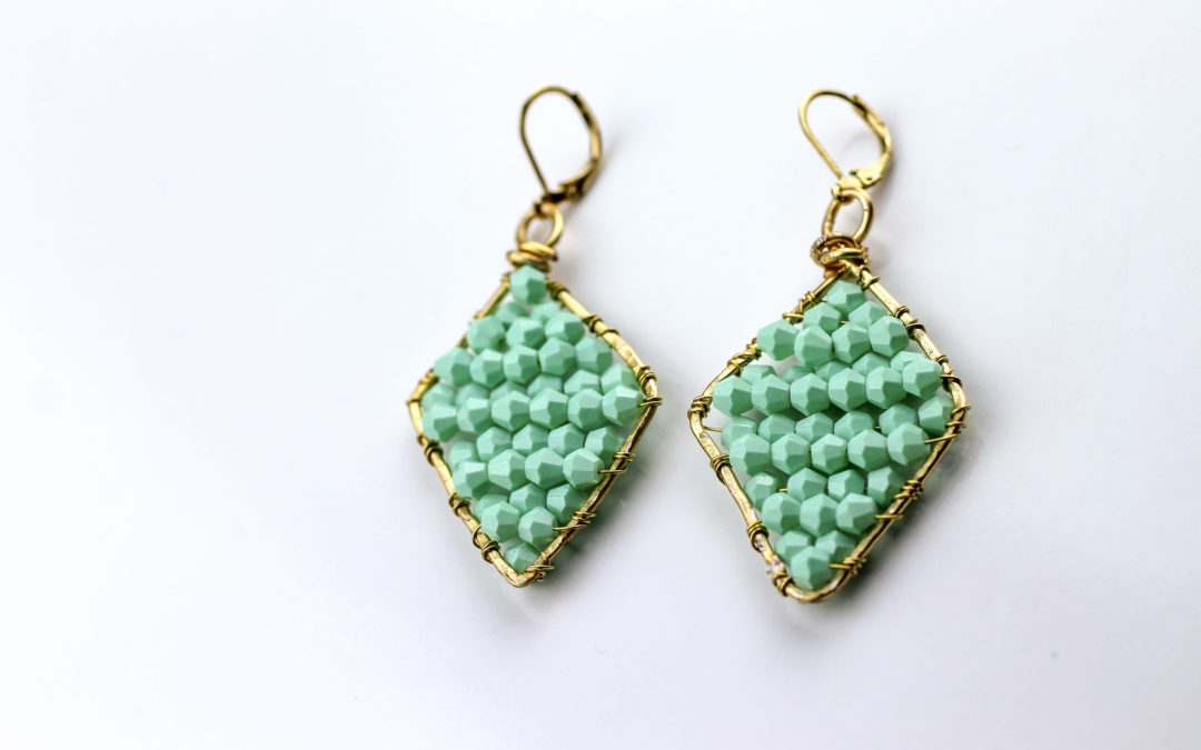 DIY Mint Beaded Earrings